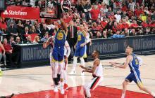 Warriors vencen a Blazers 119-117 en tiempo extra y avanzan a final de la NBA