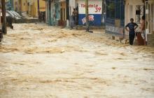 En video | Arroyo crecido en Chiquinquirá tras aguacero de este jueves