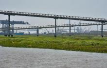 Islote formado en el río, a la altura de Riverport.