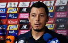 Leonardo Pico, volante del Junior, en rueda de prensa.