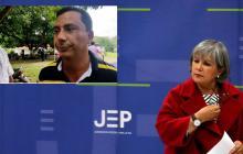 Patricia Linares, presidente de la JEP y  Armando Lambertinez, alcalde de Canalete.