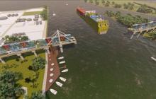 Render general de la propuesta turística del puente.