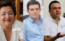 Martha Sáenz, Alejandro Lyons y Edwin Besaile Fayad, exgobernadores de Córdoba.