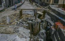 Aspecto de las obras de canalización a la altura de la calle 38 con carrera 33.