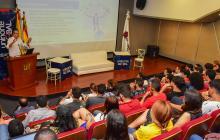 El procurador general de la nación, Fernando Carrillo, durante su intervención en la Universidad del Norte.