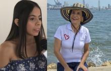 La joven periodista Blanca Urango y la candidata a la Alcaldía de Cartagena, Adelina Covo.