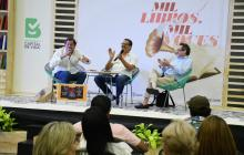 Roberto Pombo, Mauricio Vargas y Marco Schwartz durante el conversatorio.