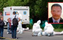 Levantamiento de los cuerpos sin vida. En el recuadro, Luis Carlos Narváez Narváez, una de las víctimas.