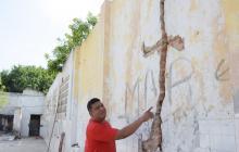 Estado de una de las paredes del antiguo matadero.