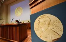 Anuncia de los ganadores de 2019 del Nobel de Medicina en Estocolmo, Suiza.