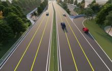 Render de la vía, la cual se proyecta construir a doble calzada entre el nuevo Pumarejo y el peaje de Palermo.