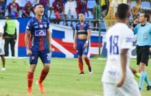 Rafael Márquez, delantero del Unión Magdalena, grita de impotencia, tras la derrota ante el Bucaramanga.