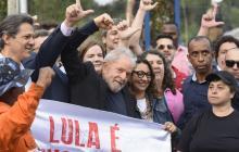 Lula da Silva al salir de la cárcel este viernes.