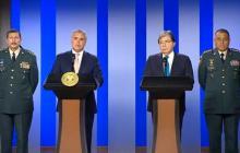 El presidente Iván Duque y el nuevo ministro de Defensa, Carlos Holmes, durante el anuncio.