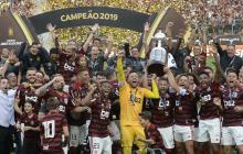 Flamengo celebró la obtención de la Copa Libertadores. 'Gabigol', la figura; Berrío, el colombiano campeón.