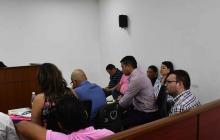 Aspecto de la audiencia de imputación de cargos a secretario de Educación del Atlántico y otras tres personas más involucradas en presuntas irregularidades del PAE en este departamento.
