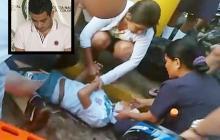 Personas auxilian a uno de los heridos del accidente. En el recuadro Roberto Rocha, el conductor del Mercedes Benz que atropelló a las tres personas.