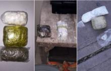 La primera imagen muestra la droga incautada en un principio, la segunda la que mostraron en el depósito donde guardan las incautaciones y la tercera la que mostró el dragoneante Pantoja y quien aseguró al comandante de vigilancia que era la cantidad que habían decomisado.