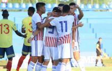 Festejo de los jugadores de la sub-23 de Paraguay.