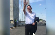 Exvicepresidente Germán Vargas Lleras durante la inauguración del nuevo puente Pumarejo.
