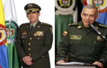 Inspector general de la Policía, general William René Salamanca Ramírez y el director de la Policía, general Óscar Atehortúa.