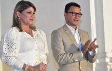 Virna Johnson, nueva alcaldesa de Santa Marta, y el gobernador del Magdalena, Carlos Caicedo.