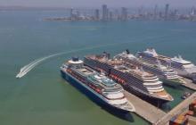 Vista panorámica de cruceros en el terminal de la Sociedad Portuaria de Cartagena.