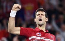 El serbio Novak Djokovic festejando su victoria en la ATP Cup.