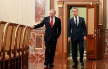 Reunión entre Vladimir Putin y Dimitri Medvedev al momento de la renuncia.