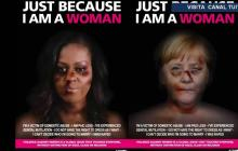 Fotomontajes denuncian maltrato contra la mujer.