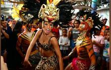 La Reina Isabella Chams Vega bailó ritmos africanos.
