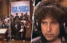 """Bob Dylan durante su participación en la canción """"We are the world""""."""