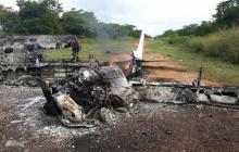 Así quedó la aeronave que derribó la Fuerza Aérea Colombiana el 5 de noviembre de 2017, en Pivijay.