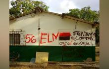 ELN estuvo en Carraipía, municipio de Maicao y pintó letreros en una escuela