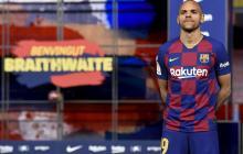 Martin Braithwaite en su presentación oficial con el Barcelona.