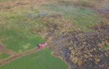 Mitigan incendio en la ciénaga de Corralito, Cereté