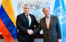 El presidente Iván Duque con el secretario general de la ONU, Antonio Guterres.