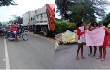 Habitantes de Tolú y Ovejas bloquearon vías pidiendo ayudas