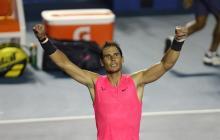 Rafael Nadal celebrando una victoria.