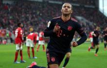 Thiago celebrando un gol con el Bayern Munich en la Bundesliga.