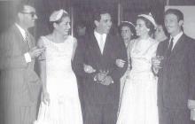 Roberto Prieto, Sonia Osorio, Álvaro y Tita Cepeda y Alejandro Obregón en el matrimonio de Germán Vargas y Susana Linares.