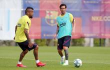 Lionel Messi en un entrenamiento con el Barcelona FC.