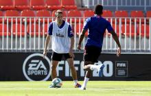 Santiago Arias durante un entrenamiento con el Atlético de Madrid.