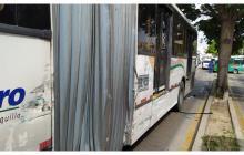 Cuatro heridos en choque entre bus urbano y articulado de Transmetro