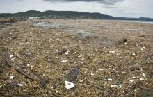 Imagen de la isla de basura que se formó el año pasado en 18 kilómetros de playa en Puerto Colombia.