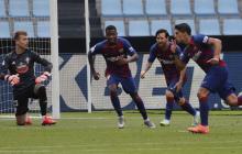 Luis Suárez, Messi y Ansu Fati corren a celebrar lo que creían que era el gol de la victoria.