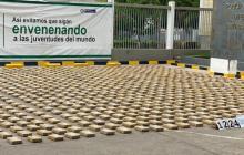Parte del cargamento de cocaína decomisado en el puerto de Cartagena.