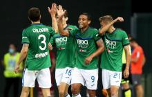 Muriel celebra con sus compañeros uno de sus tantos con el Atalanta ante Udinese.
