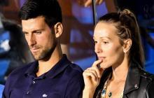 Novak Djokovic junto a su esposa.