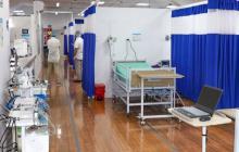Vista de la unidad de cuidados intensivos en la ESE Vidasinú que se integrará con la Clínica Imat.